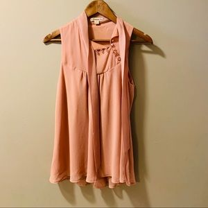 Forever Blush Pink Sleeveless Top w/ Neck Tie